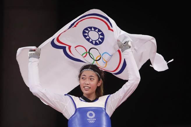 東京奧運25日進行跆拳道女子57公斤級的比賽,中華隊羅嘉翎擊敗尼日對手獲得銅牌。(季志翔攝)