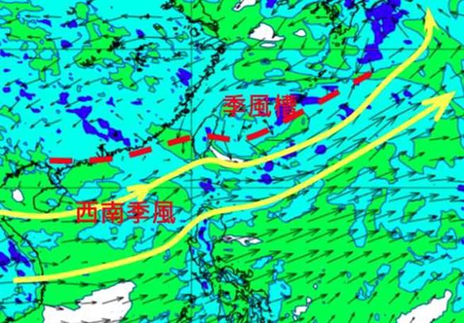最新歐洲模擬8月4日20時的850百帕風場圖顯示,台灣受季風槽及西南季風影響。(翻攝自「三立準氣象· 老大洩天機」)