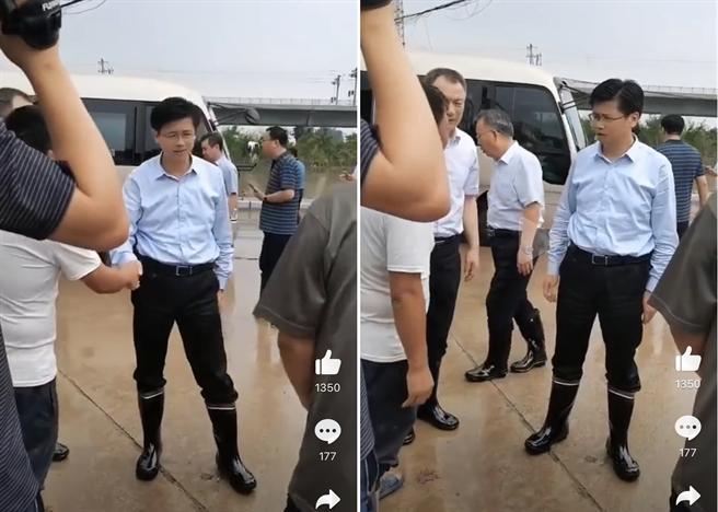 有網友發佈一組地方領導視察洪災的照片,與朱生嶺現場救援對比,這位基層地方領導有公務車接送,穿著勘災的橡膠鞋上一點泥都沒有沾到,則遭到網民吐槽。(圖/微博)
