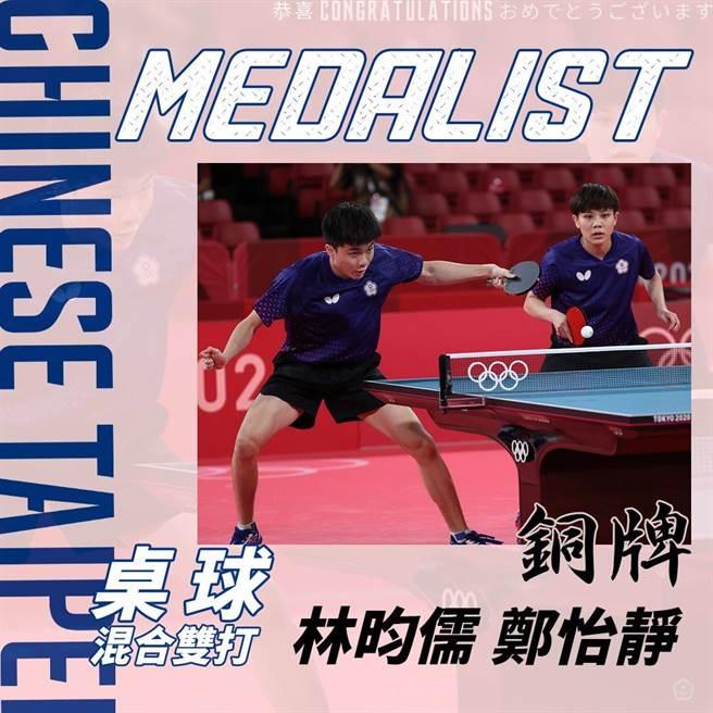 林昀儒(左)、鄭怡靜(右)贏得東京奧運桌球混雙銅牌。(圖/翻攝自 中華奧會臉書)