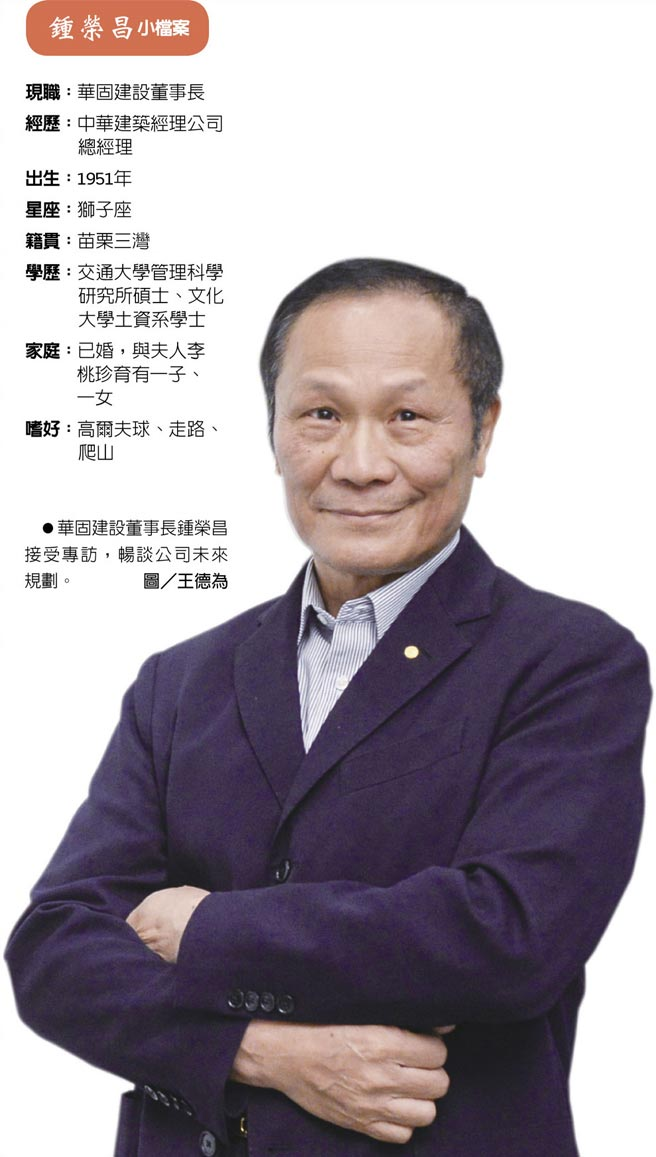 鍾榮昌小檔案 華固建設董事長鍾榮昌接受專訪,暢談公司未來規劃。圖/王德為
