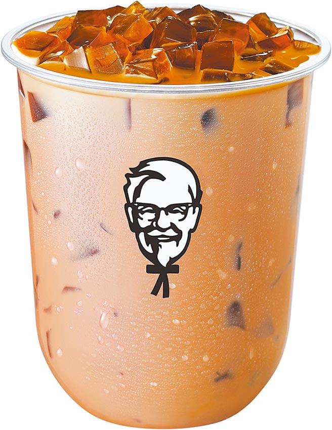 肯德基QQ黑磚奶茶,單點65元,8月2日前買1送1。(肯德基提供)