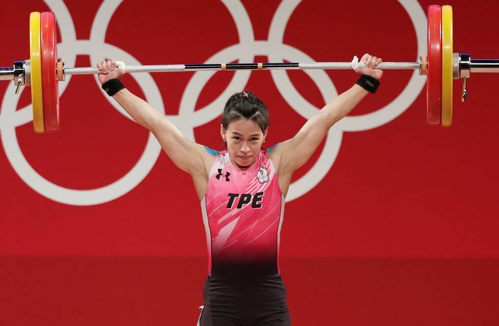 東京奧運女子舉重59公斤級由中華隊的郭婞淳拿到金牌。(季志翔攝)