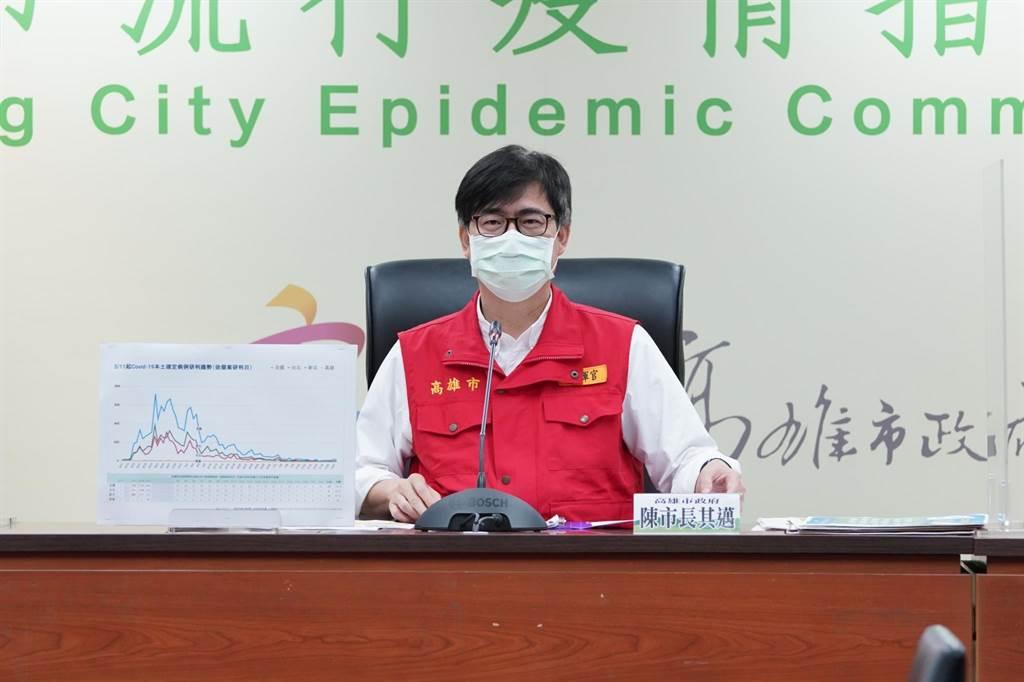 高雄28日驚傳1例本土確診個案,高雄市長陳其邁開記者會說明疫情狀況。(本報資料照片)