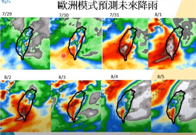 氣象專家賈新興PO出歐洲模式,預測未來降雨。(圖/截自賈新興臉書)