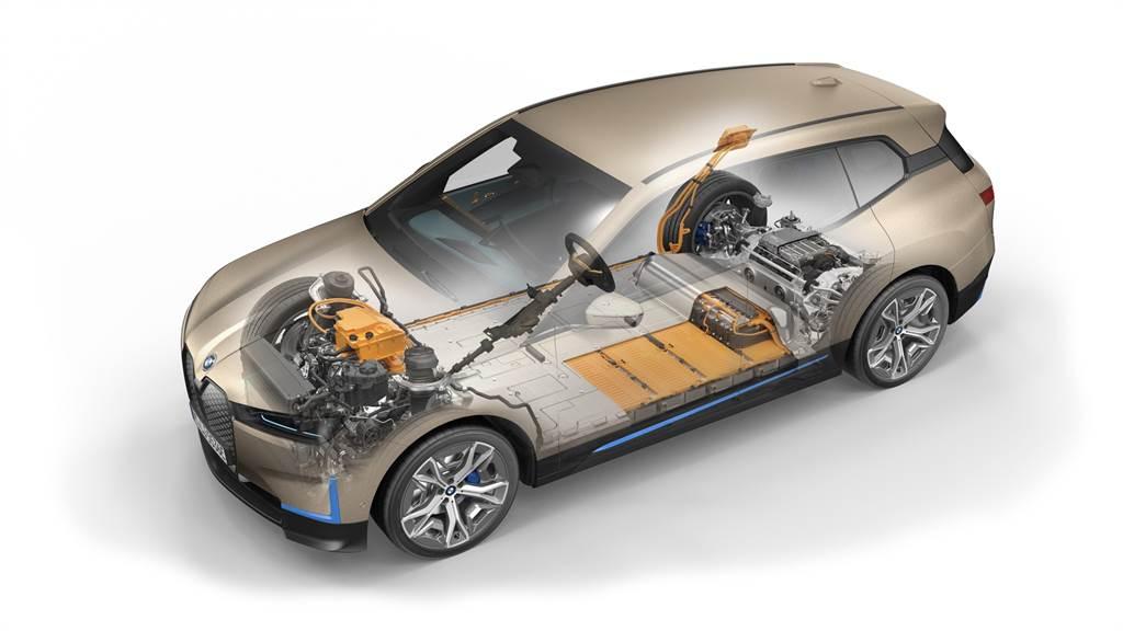 BMW iX採用第五代eDrvie科技與xDrive智慧型可變四輪傳動系統,iX xDrive50最大馬力為523匹,0到100km/h加速只需4.6秒,最高續航里程更能達到630km。