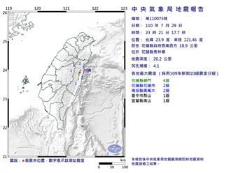 花蓮一晚2震!23:21規模4.1有感地震 最大震度4級