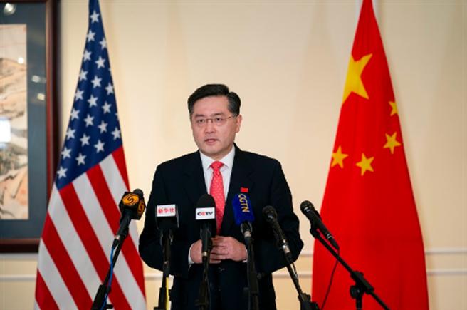 中國新任駐美大使秦剛甫抵華盛頓即向中美媒體發表講話。(中國外交部)