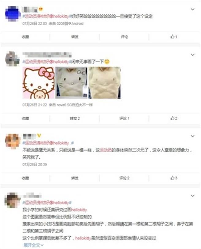 網友在戴利的腹肌上畫凱蒂貓的臉。(圖/翻攝自微博)