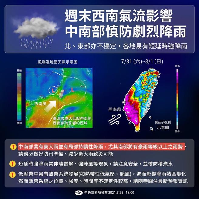 周末西南氣流影響,中南部慎防劇烈降雨。(圖/氣象局)