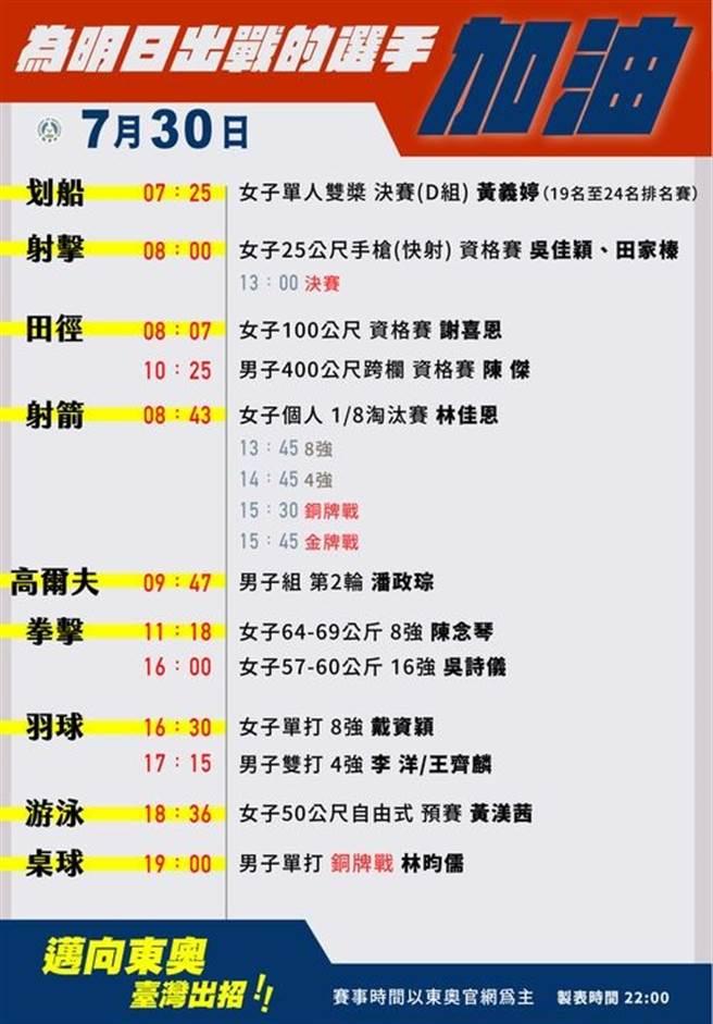 30日林昀儒再拚東奧桌球銅牌,羽球麟洋配爭搶決賽門票。(摘自 教育部FB粉專)