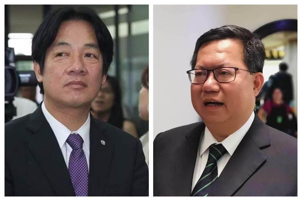 副總統賴清德(左)和桃園市長鄭文燦(右)。(中時資料照)