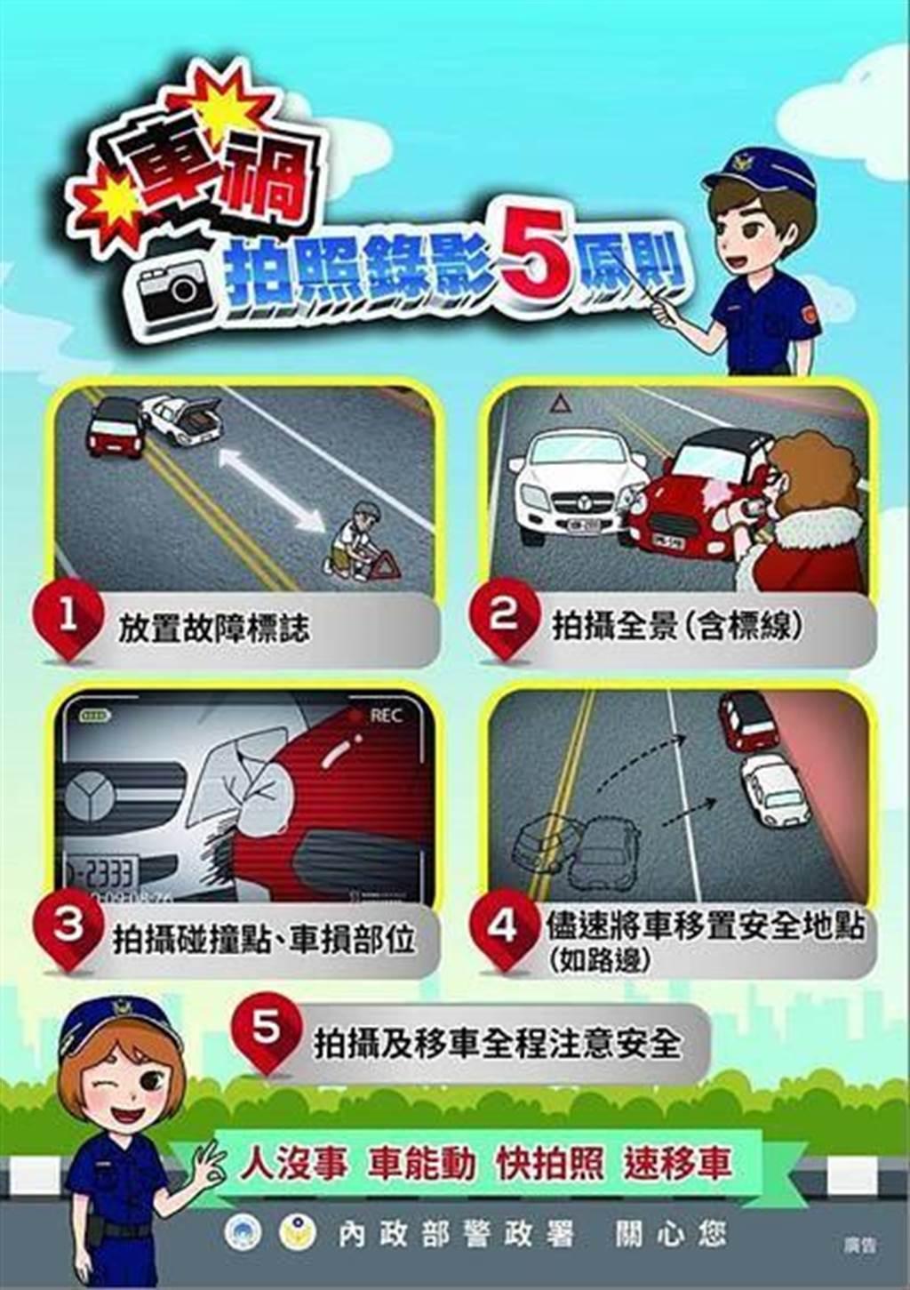 警教民眾處理交通事故5字訣:「放、撥、劃、移、等」保安全。(台中市政府提供/張妍溱台中傳真)