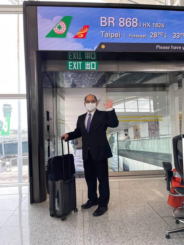 台灣駐香港「台北經濟文化辦事處」經濟組長倪伯嘉今搭機返台。(陸委會提供)