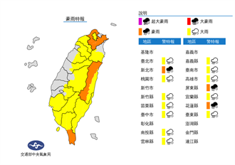 西南季風挾暴雨炸台灣 15縣市豪大雨特報