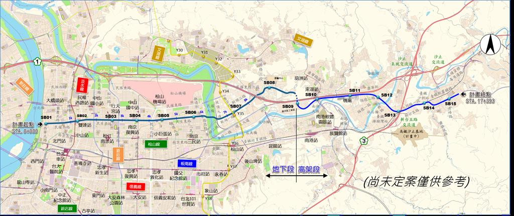 汐止東湖捷運線路線圖。(擷取自新北捷運局網站)