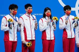 東奧》男女4X100米混合泳接力大陸摘銀 張雨霏累積兩金兩銀