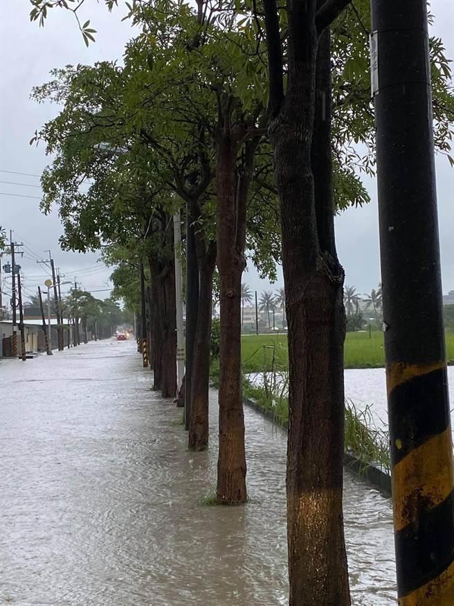 彌陀區進學路淹水。(翻攝立委邱志偉臉書)
