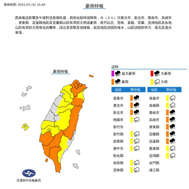 氣象局發布18縣市豪大雨特報,北北基、南高屏、宜花8縣市升級豪雨。(氣象局)