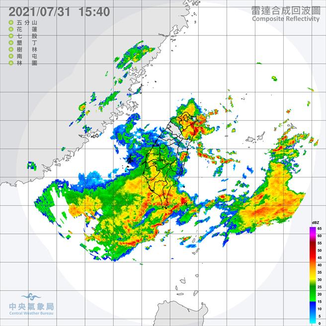 受西南氣流影響及午後對流發展旺盛,易有短延時強降雨。(氣象局)