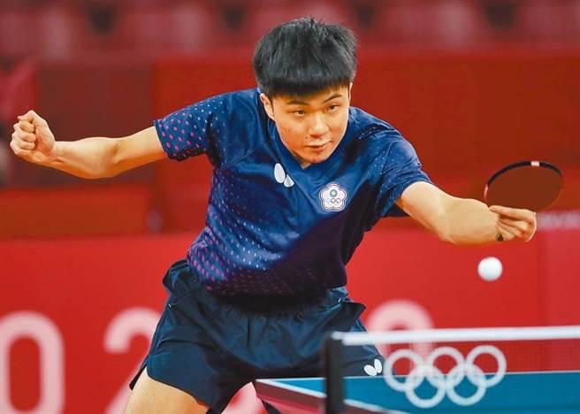 林昀儒表示,他人生的奧運之旅在此先畫下逗點,並以諾貝爾得主的一句話「你若精彩,天自安排」自我勉勵。(圖/季志翔攝)