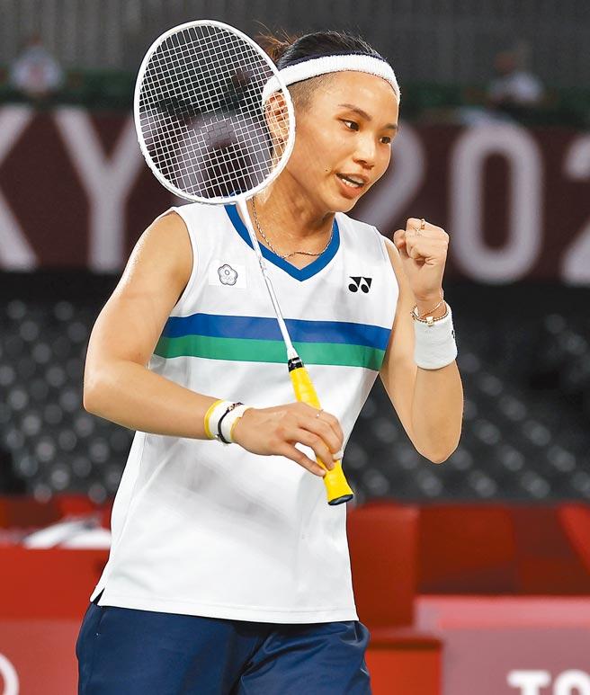 東京奧運羽球女子單打,中華隊戴資穎以2比1擊敗泰國的依瑟儂。(季志翔攝)