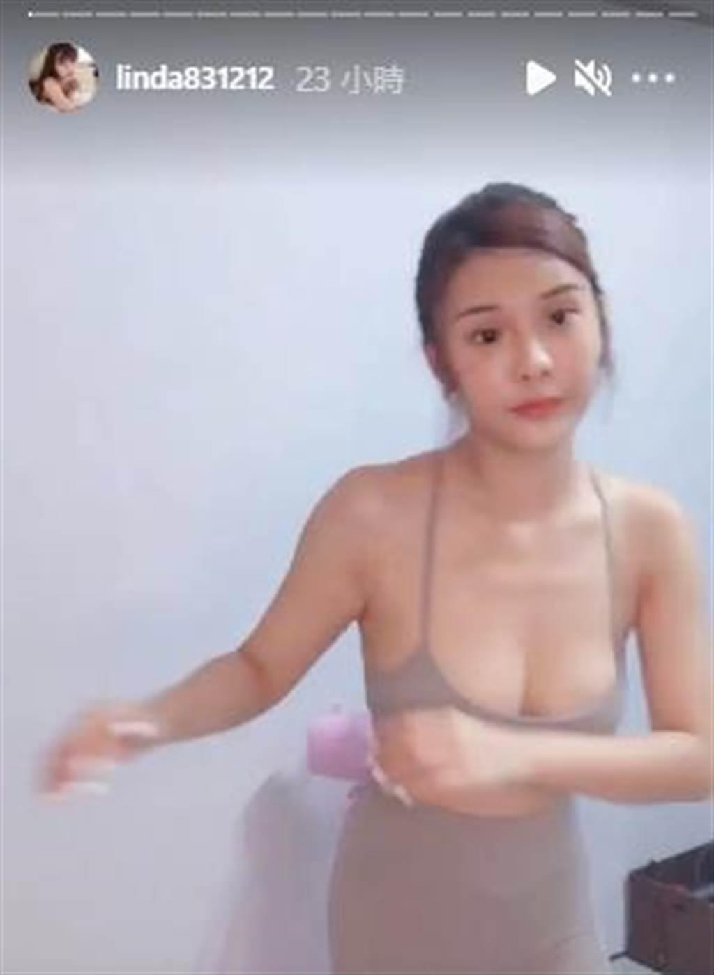 琳妲在家裡運動,大方曬出好身材。(圖/琳妲IG)