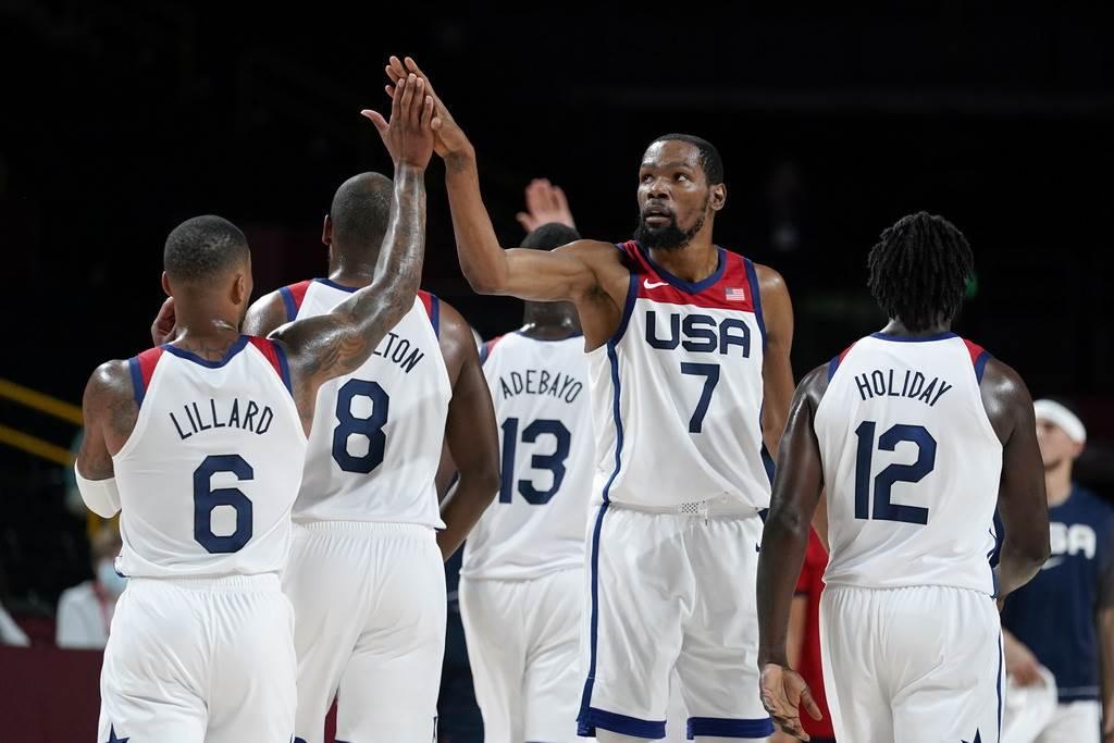 杜蘭特領軍的美國男籃將在東京奧運8強賽遭遇西班牙。(美聯社資料照)