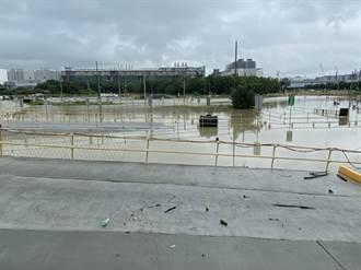 雨炸台南 樹谷園區台積電18廠工務所停車場淹水