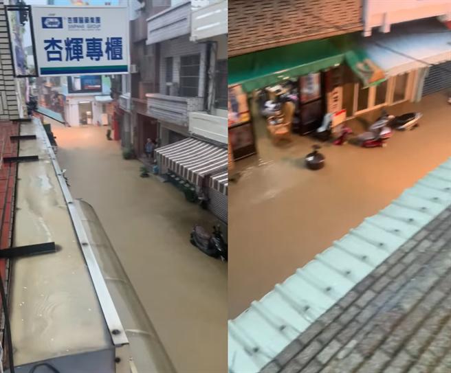 小琉球街道變混濁的河流,還淹到民宅內。(翻攝自潘孟安臉書)