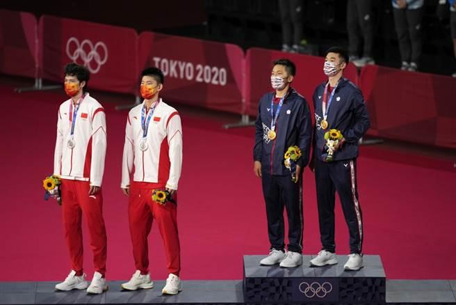 台灣李洋、王齊麟摘下羽球男雙金牌,斬斷中國大陸奧運3連霸機會。(美聯社資料照)