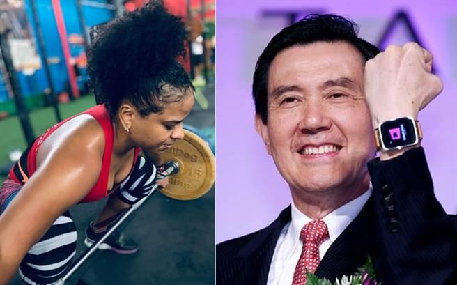 哥倫比亞舉重女將梅塞德斯(Mercedes Isabel Pérez Tigrero),因賽前大喊一聲「馬英九」,引發台灣網友熱議。(合成圖/摘自梅塞德斯IG、馬英九臉書)