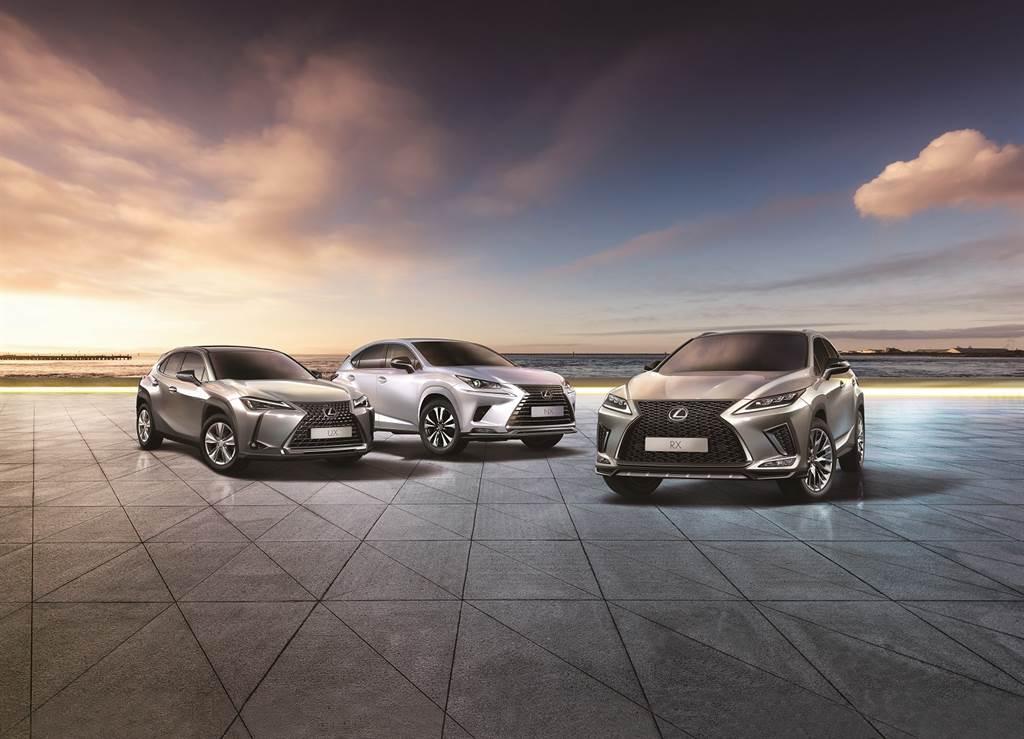 Lexus RX、UX、NX車系廣受消費者喜愛。