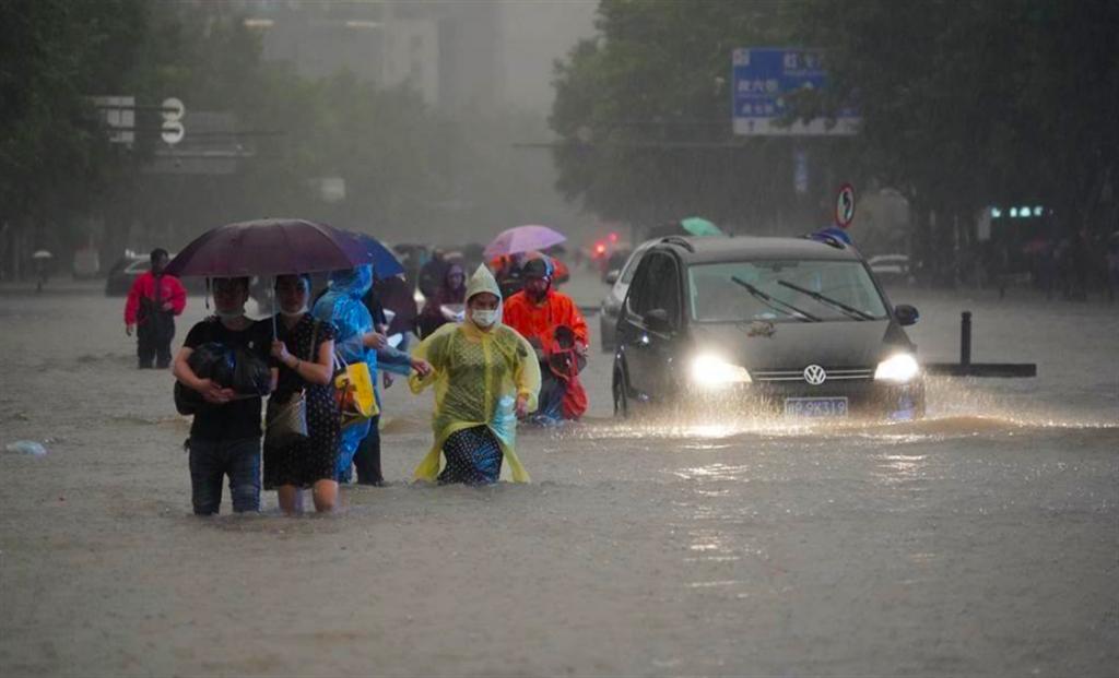 河南大雨引發嚴重洪災。(中新社)