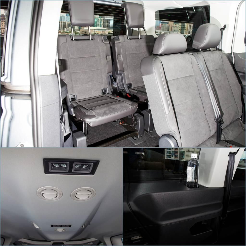 第三排座椅由連體式雙座改為兩組獨立座椅,可獨立調整椅背角度,並且天篷設有空調出風口,可將空調直接送至每個座位。(陳彥文攝)