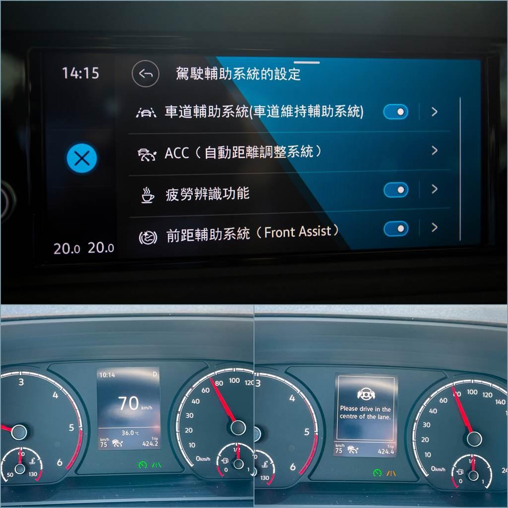 全車系標配ACC主動式車距調節巡航、Front Assist車前碰撞預警等,柴油車型另外增加Lane Assist車道維持及偏移警示系統(含修正輔助),但缺少車道置中以及盲點偵測稍微可惜。(陳彥文攝)