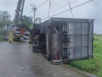 通霄鎮運300頭小豬貨車 天雨路滑翻覆產業道路上