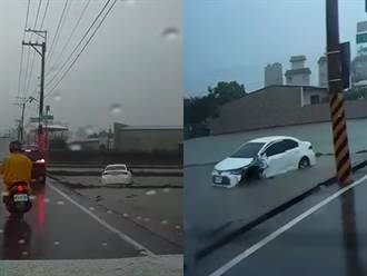 下一站「田中」到了 駕駛衝入路邊稻田車頭驚現恐怖大洞