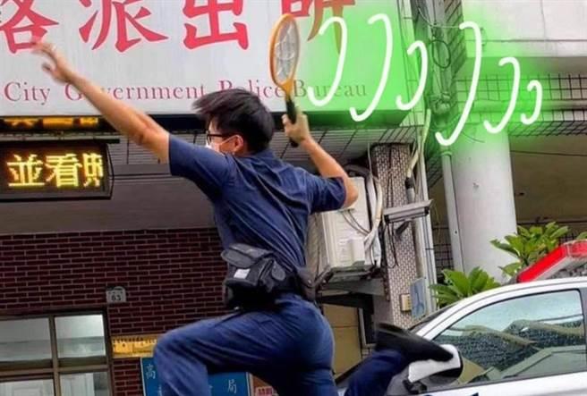 高雄市警察局臉書一張Kuso羽球照,引網友熱議。(圖/FB_高雄市政府警察局)