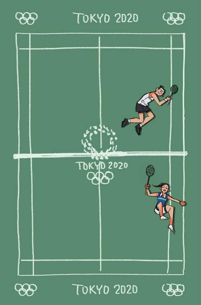 同樣經依瑟儂分享作品的還有台灣漫畫家依萊,她在觀看比賽後,以最快速度畫下小戴與依瑟儂不惜撲身接球的動人一瞬間。(依萊提供)