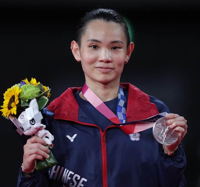 東京奧運羽球女子單打金牌戰,中華隊戴資穎以1比2敗給了大陸對手屈居銀牌。(季志翔攝)