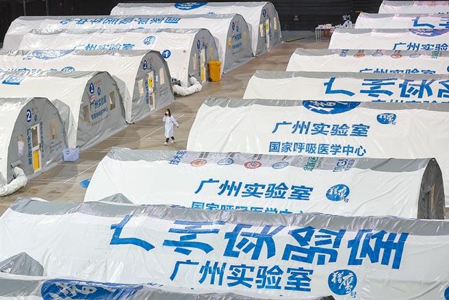 大陸新冠肺炎疫情持續延燒,高達15個省市皆傳出本土確診案例。圖為南京江北新區的氣膜實驗室檢測站。(中新社)