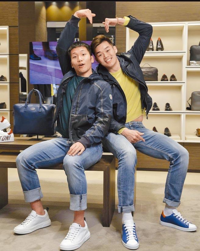 李洋(左)、王齊麟受邀拍攝AMEDEO TESTONI時尚照,展現時尚運動風。(AMEDEO TESTONI提供)