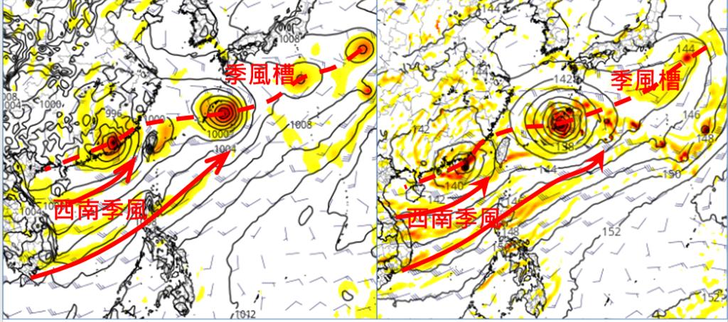 最新歐洲(ECMWF)模式,模擬周四(5日)20時天氣圖(左圖)顯示,季風槽內有許多低壓發展,最左側的在福建沿海陸地上。美國(GFS)模式同時的模擬圖(右圖)顯示,各個低壓強度、位置皆有差異,唯西南季風盛行是兩者相同的。(圖擷自tropical tidbits/「三立準氣象· 老大洩天機」)