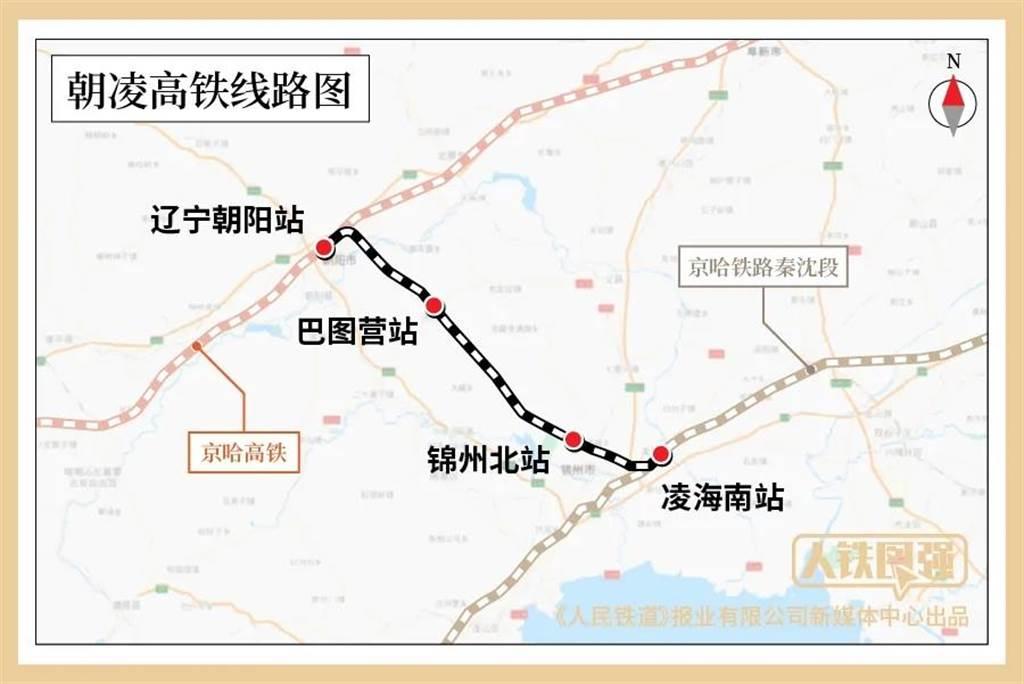 遼寧朝陽至凌海南高速鐵路(朝凌高鐵)線路圖。(人民鐵道報業)