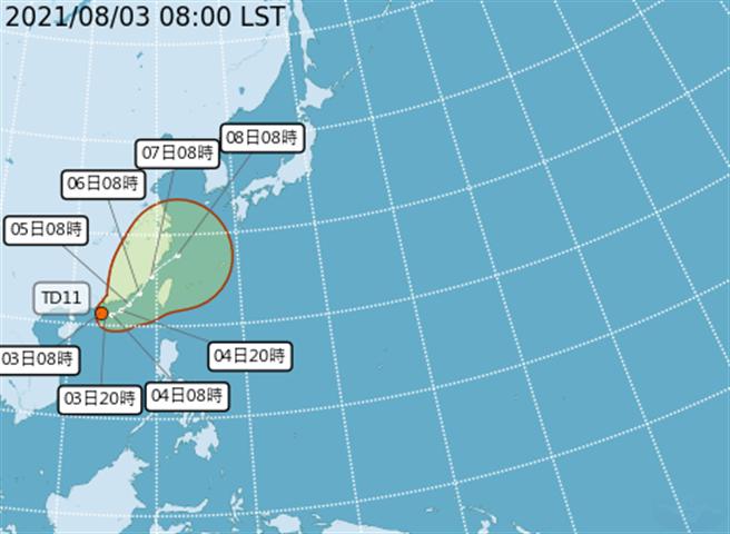 今明兩天熱帶性低氣壓TD11可能增強為今年第9號輕度颱風「盧碧」,預估周四到周六外圍環流將威脅台灣附近海面,尤其距離最近的澎湖、金門、馬祖要特別注意可能受到影響。(取自氣象局)
