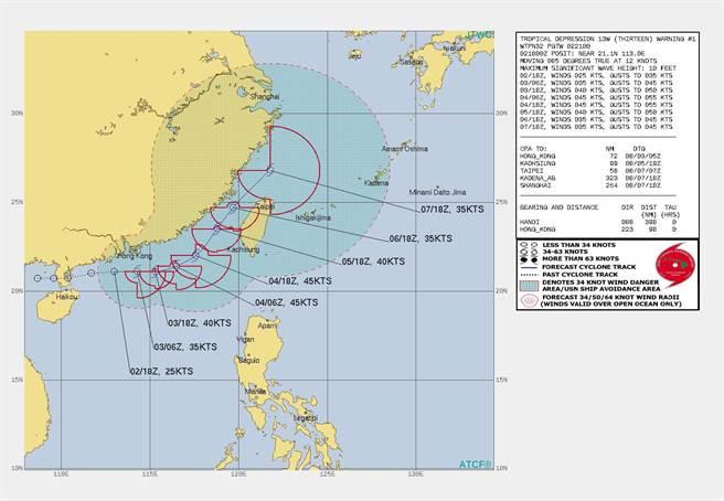 美軍首報預測路徑顯示,盧碧颱風會貫穿台海。(翻攝自 台灣颱風論壇|天氣特急FB)