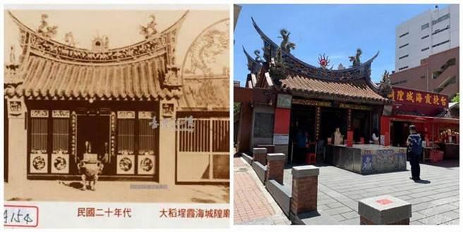 (左)民眾二十年代大稻程霞海城隍廟(圖:國家圖書館 臺灣記憶);(右)位於迪化街一段61號的三級古蹟霞海城隍廟