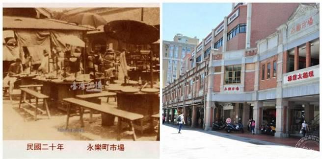 (左)永樂町市場攤販舊照片(圖:國家圖書館 臺灣記憶);(右)改建後的永樂市場(圖:工務局提供)