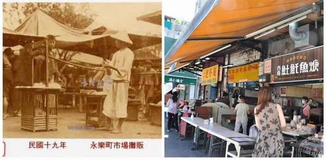 (左)永樂町市場攤販舊照片(圖:國家圖書館 臺灣記憶);(右)永樂市場周邊好吃小吃攤販(圖:工務局提供)